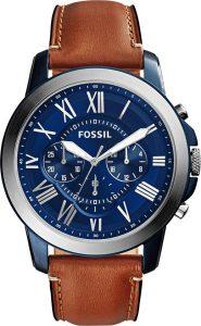 Fossil horloge blauwe wijzerplaat Grant FS5151