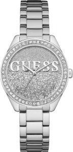 Guess horloge dames zilver steentjes Glitter Girl W0987L1