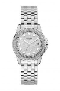 Guess horloge dames steentjes zilver W1235L1