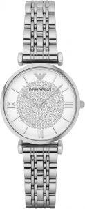 Armani horloge dames zilver steentjes AR1925