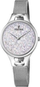Festina horloge dames steentje swarovski zilver
