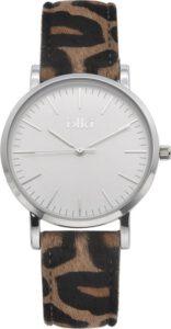 Ikki horloge dames leopard zilver
