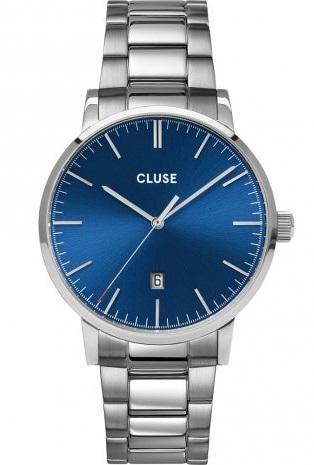 Cluse horloge heren zilver blauw
